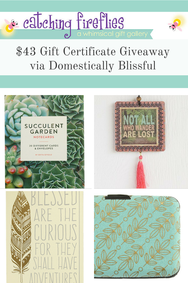 Catching Fireflies $43 Gift Certificate Giveaway via Domestically Blissful