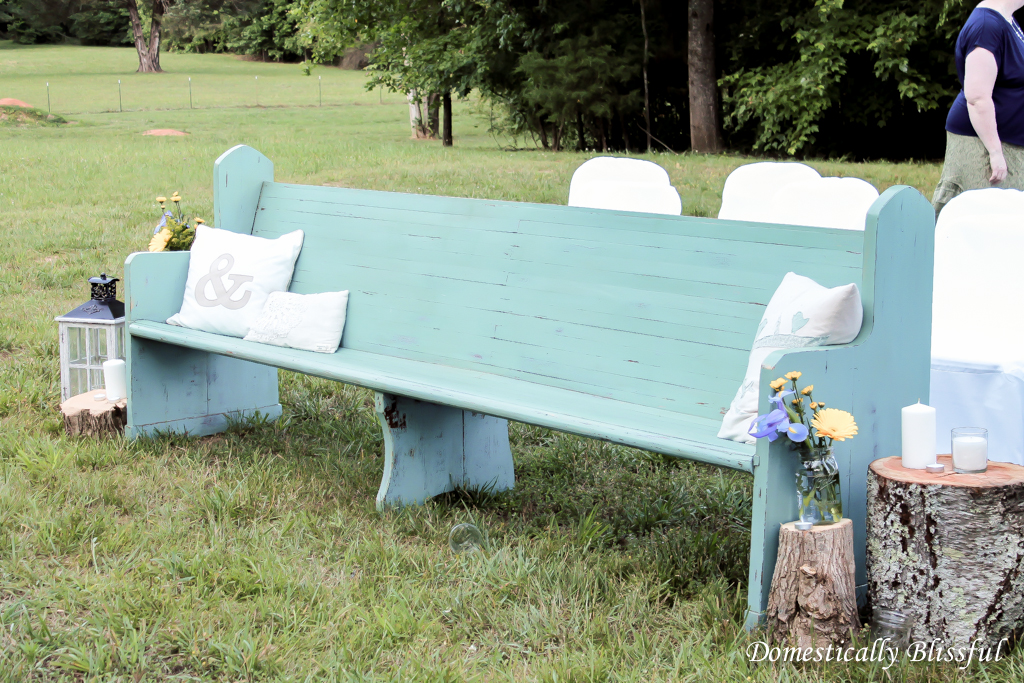Church Pew at Wedding