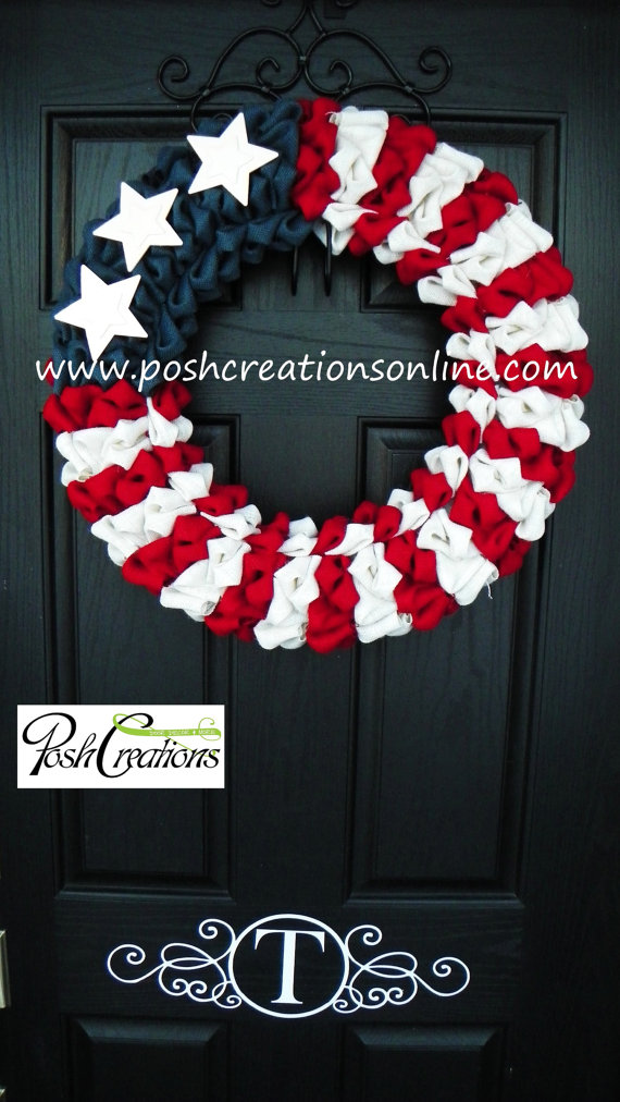 4th of July Rustic Burlap Wreath