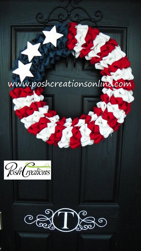 4th of July Rustic Burlap Wreath