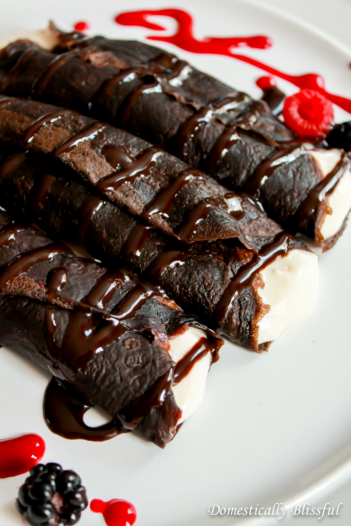 Sweet Cream Cheese filled Chocolate Crepes