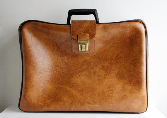 Faux Leather Vintage Suitcase