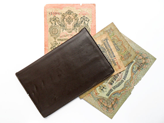 Brown Faux Leather Vintage Wallet