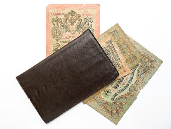 Brown Faux Leather Vintage Wallet