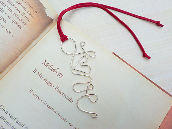 LOVE Silver Wire Bookmark with Faux Suede Leather