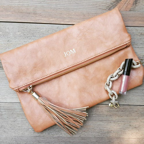 Monogrammed Faux Leather Foldover Clutch