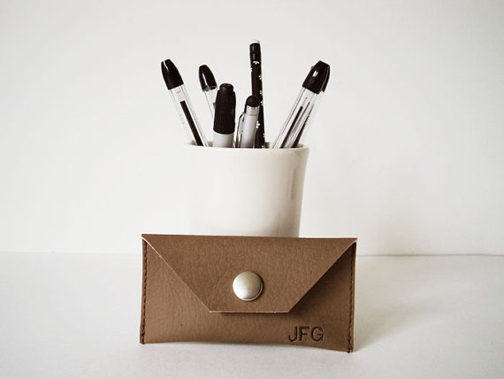 Faux Leather Monogrammed Business Card Holder