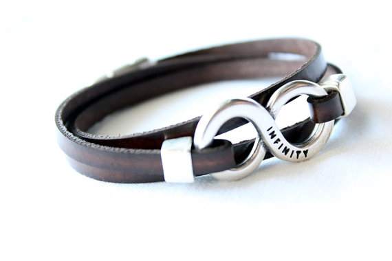 Vegan Infinity Faux Leather Bracelet