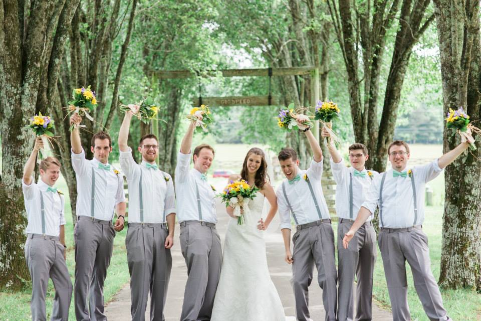 Bride and Groomsmen with flower bouquets