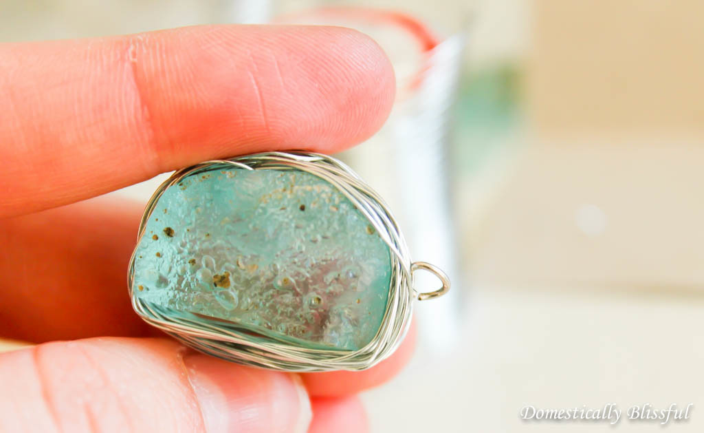 DIY Blue Glass Necklace from an Antique Glass Insulator