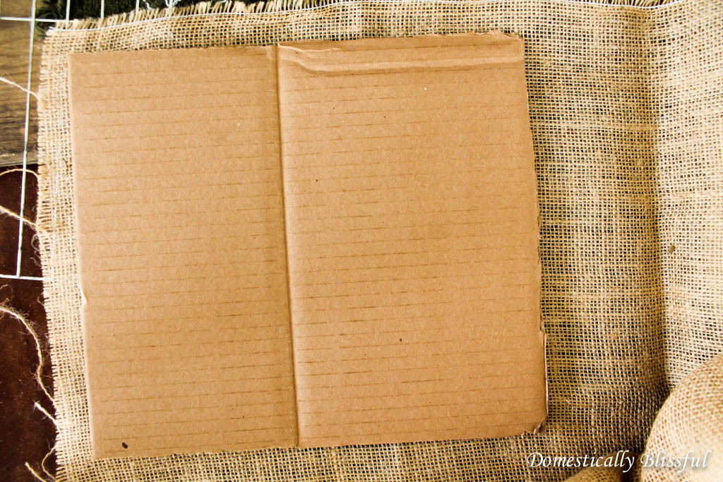 Use burlap to cover cardboard