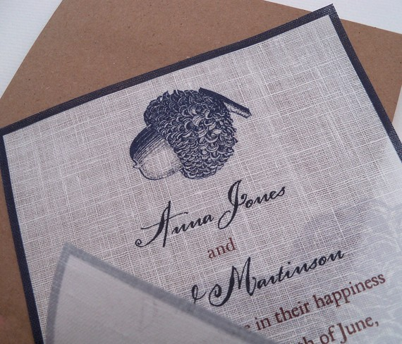 Linen Fabric Fall Wedding Invitation