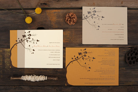 Tree Leaves Fall Wedding Invitation