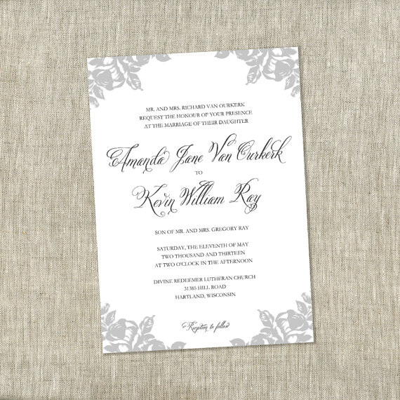 Grey & White Vintage Wedding Invitation