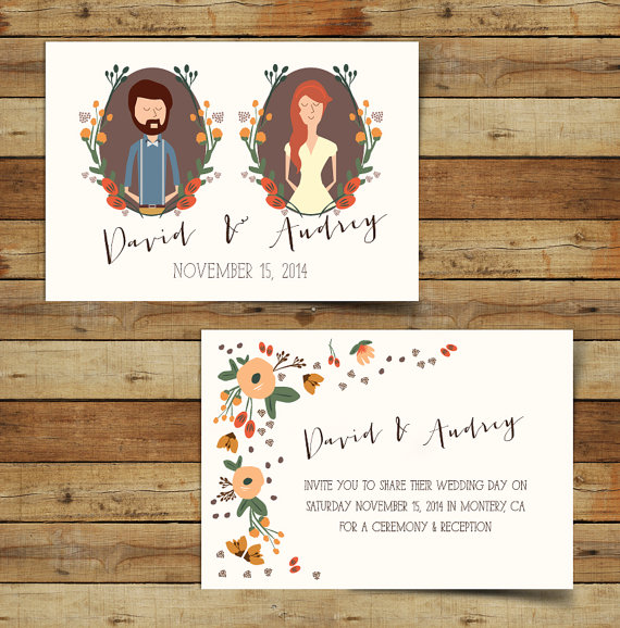 Illustrated Couples Portrait Autumn Wedding Invitations