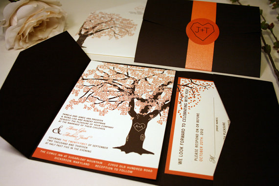 Fall Oak Tree Wedding Invitation