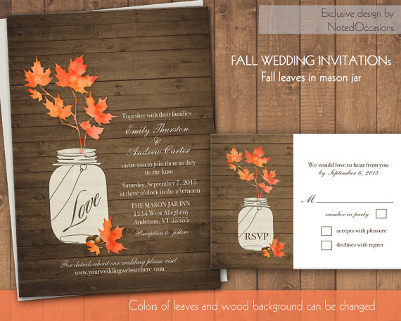 Rustic Mason Jar Wedding Invitation