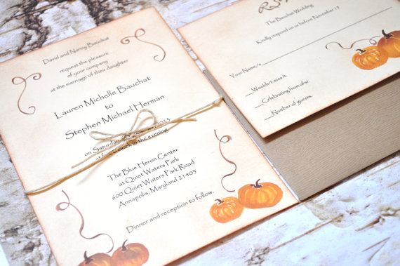 Rustic Pumpkin Wedding Invitations