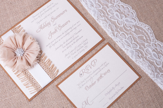 Country Chic Rustic Wedding Invitation