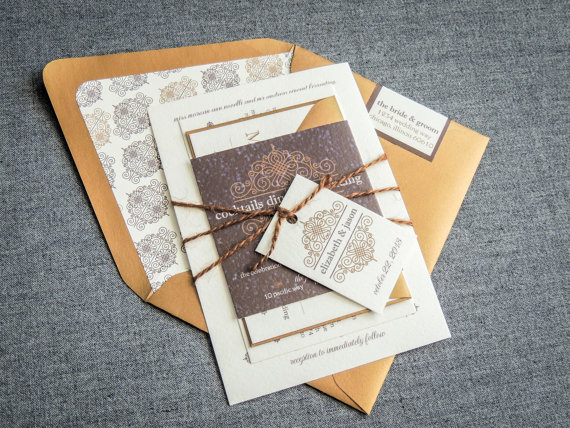 Vintage Gold Rustic Wedding Invitation
