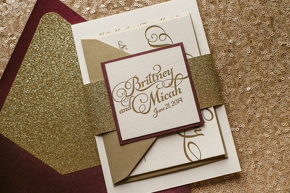 Wine & Gold Fall Wedding Invitation