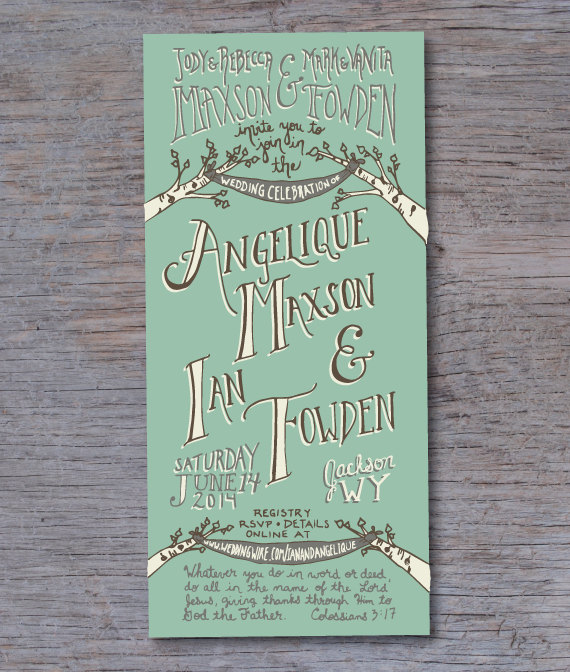 Green Fall Wedding Invitation