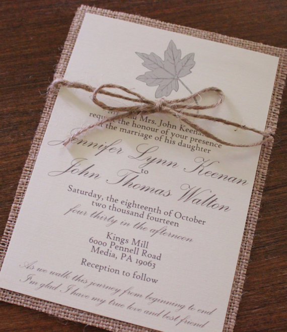 Burlap & Twine Fall Wedding Invitation