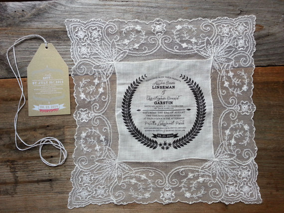 Custom Handkerchief Wedding Invitations