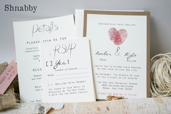 Thumbprint Burlap Wedding Invitation