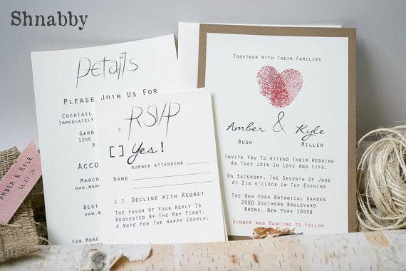 Thumbprint Burlap Wedding Invitation