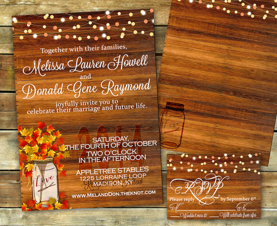 50 fall wedding invitations, Wedding invitations