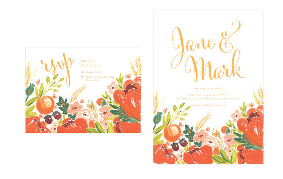 Autumn Flowers Wedding Invitations