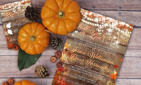 Autumn Leaves Rustic Wedding Invitations