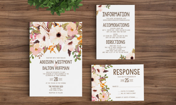 Printable Rustic Bohemian Floral Wedding Invitation