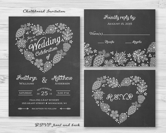 Chalkboard Woodland Heart Wedding Invitation