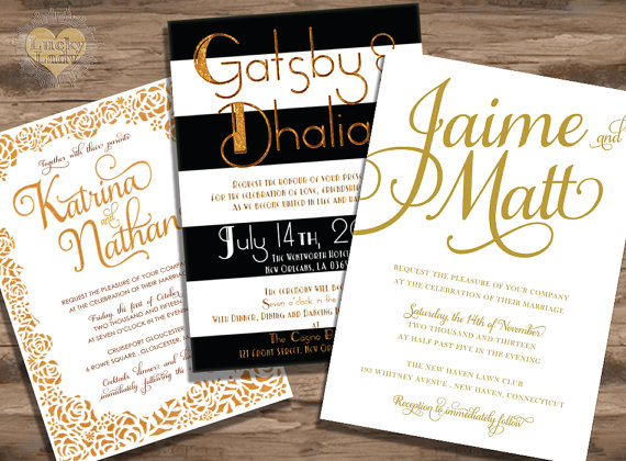Gold Glam and Shimmer Wedding Invitations