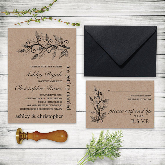Rustic Tree Branch Wedding Invitation