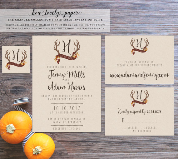 Printable Fall Wedding Invitation Suite