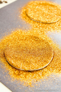 Add sparkly glitter to mason jar lids