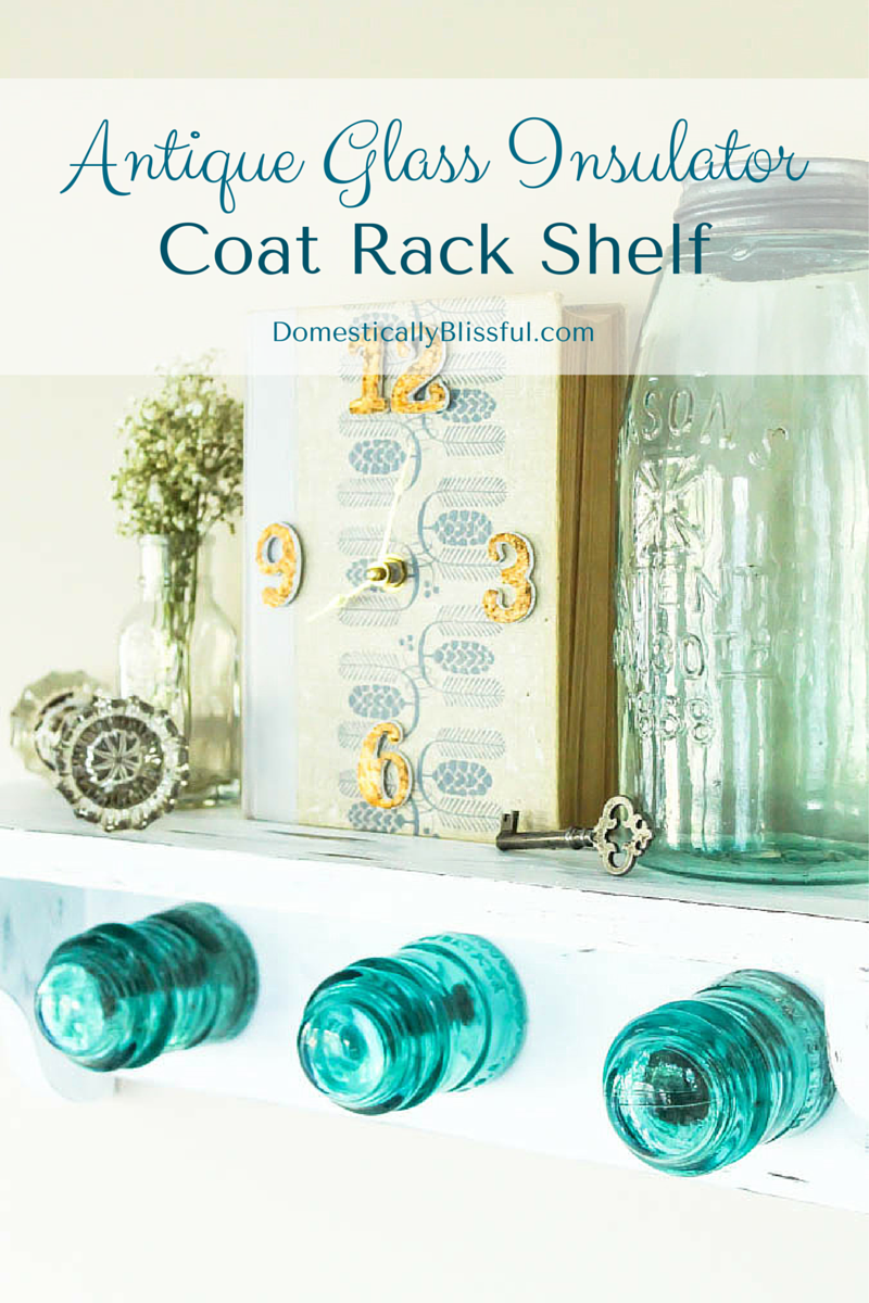 Antique Glass Insulator Coat Rack Shelf
