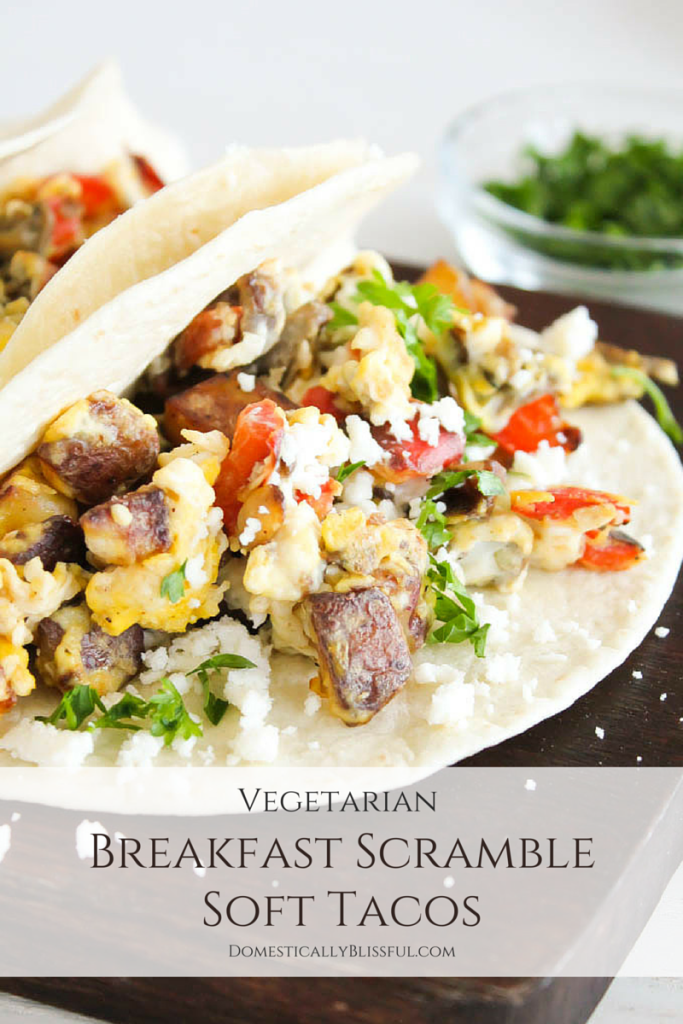 Breakfast Scramble Soft Tacos are a bright & flavorful dish for breakfast & brunch!