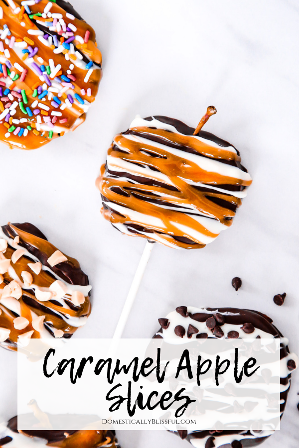 Caramel Apple Slices are a delicious twist on a fall classic that is easier to eat & enjoy at parties or just for fun!