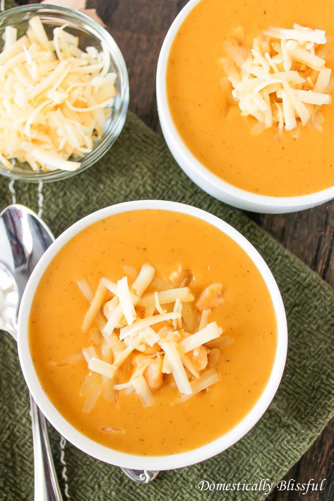 Creamy Pumpernut Soup made with pumpkin, squash, and sweet potato gnocchi