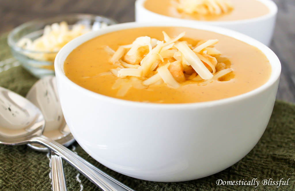 Creamy Pumpernut Soup with sweet potato gnocchi and apple smoked cheddar