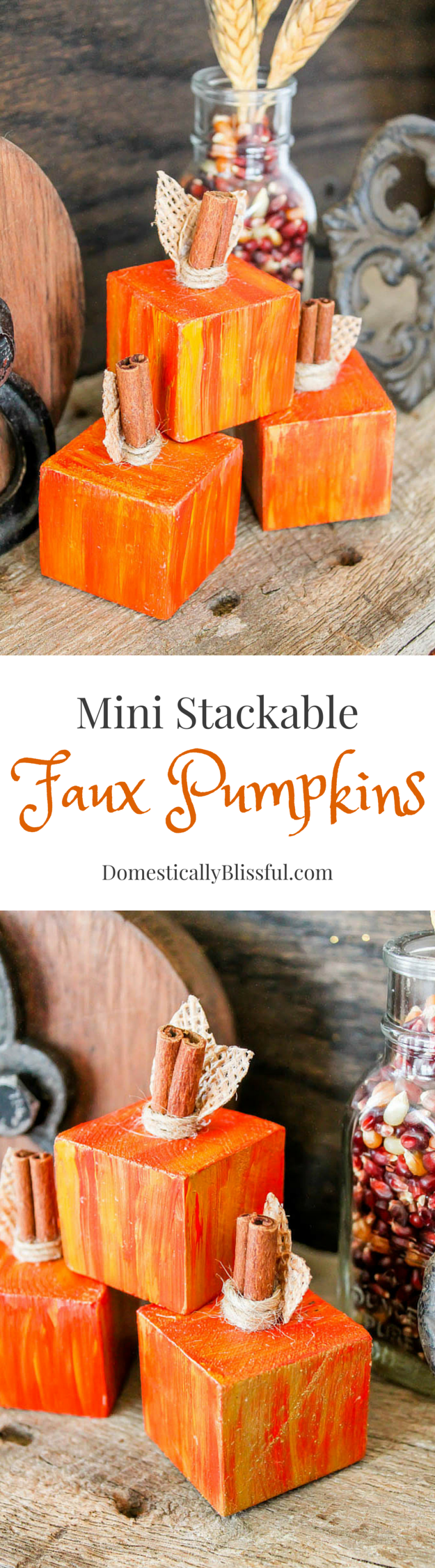 DIY Mini Stackable Faux Pumpkins