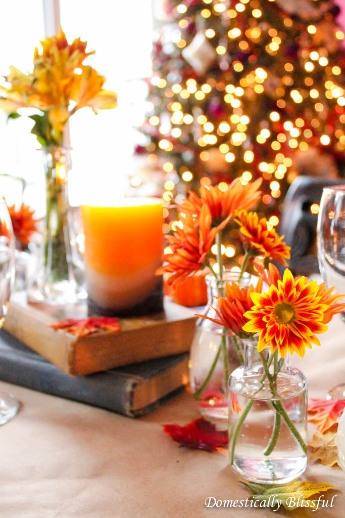Old books & fresh fall flowers on Thanksgiving table