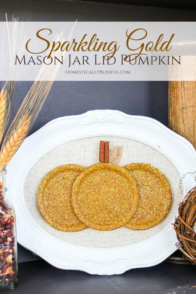 Sparkling Gold Mason Jar Lid Pumpkin