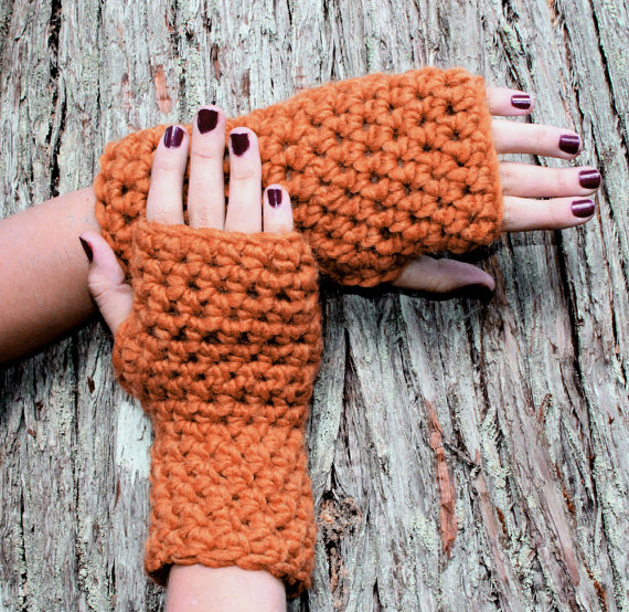 Pumpkin Spice Fingerless Gloves