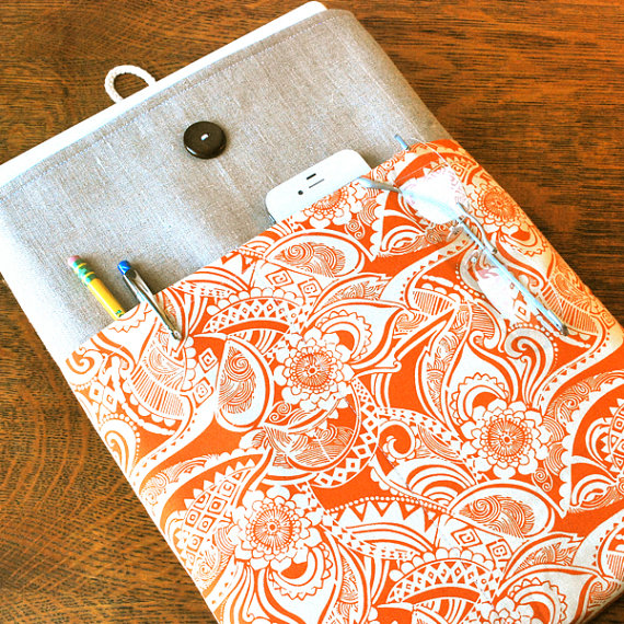 Pumpkin Spice Linen Fabric Laptop Cover