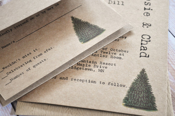 Rustic Tree Christmas Wedding Invitations